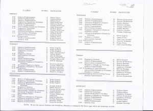 New Dance Group Class Schedule 1959-1960